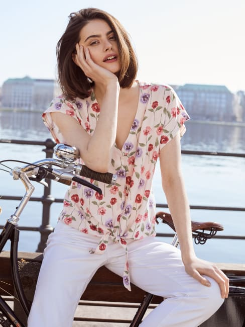 Short Sleeve Printed Button Front Tie Top