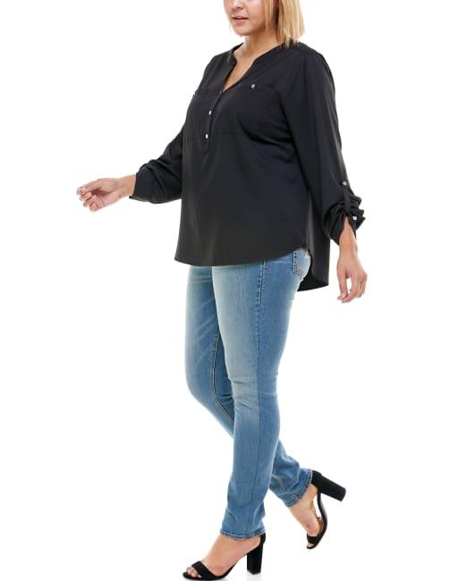 Adrienne Vittadini - Mandarin Collar 3/4 Sleeve Utility Shirt - Plus