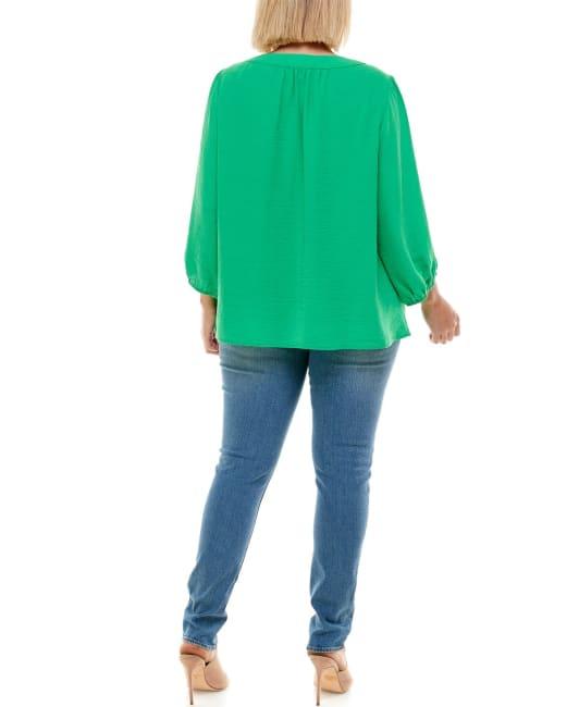 Adrienne Vittadini - Henley 3/4 Sleeve Blouse - Plus