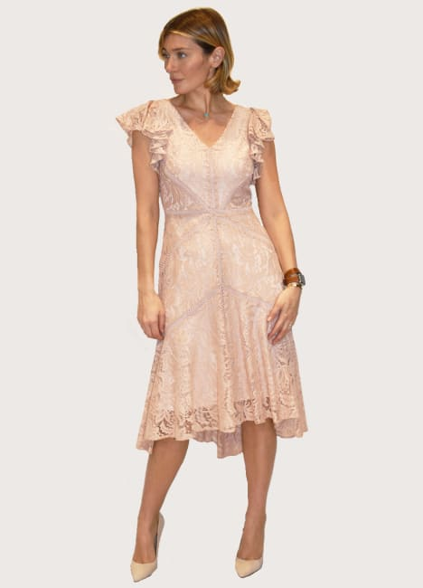 Taylor Lace V Neck Flutter Sleeve High Low Hem  Dress