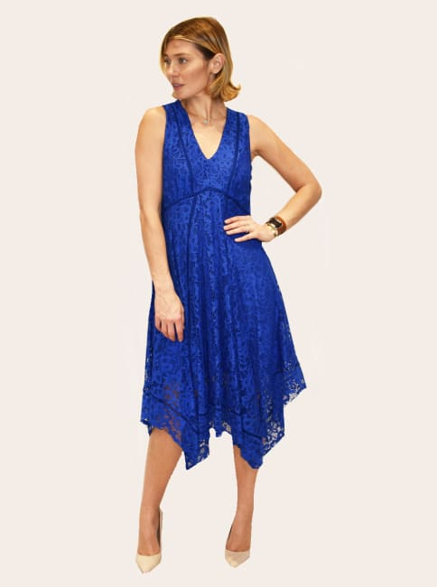 Taylor Lace Asymmetrical  Hem Midi Dress