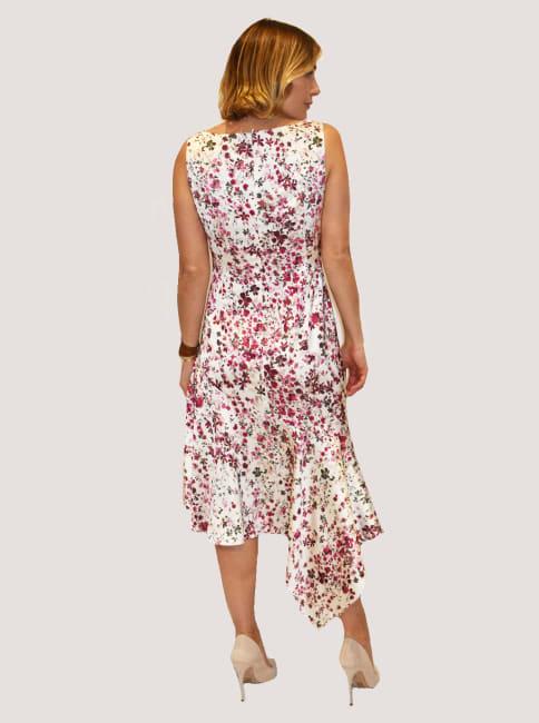 Taylor Floral  V Neck Satin  Dress with Asymmetrical Hem