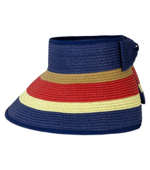 Striped Bow With Adjustable Straw Visor