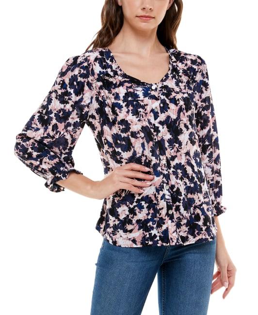 Adrienne Vittadini - 3/4 Sleeve Rayon Button Up Top