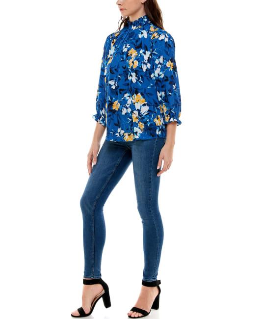 Adrienne Vittadini - 3-4 Puff Sleeve Polyester Smocked Neck Blouse