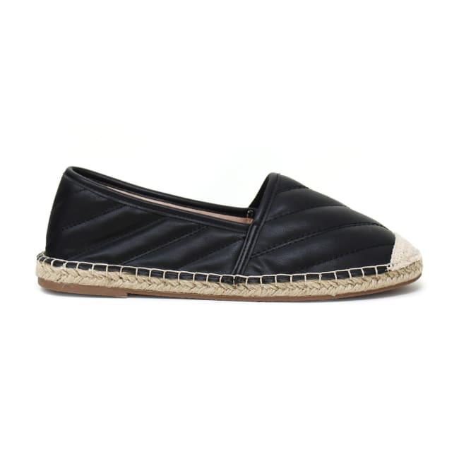Flat Slip On Leather Espadrille Sandal