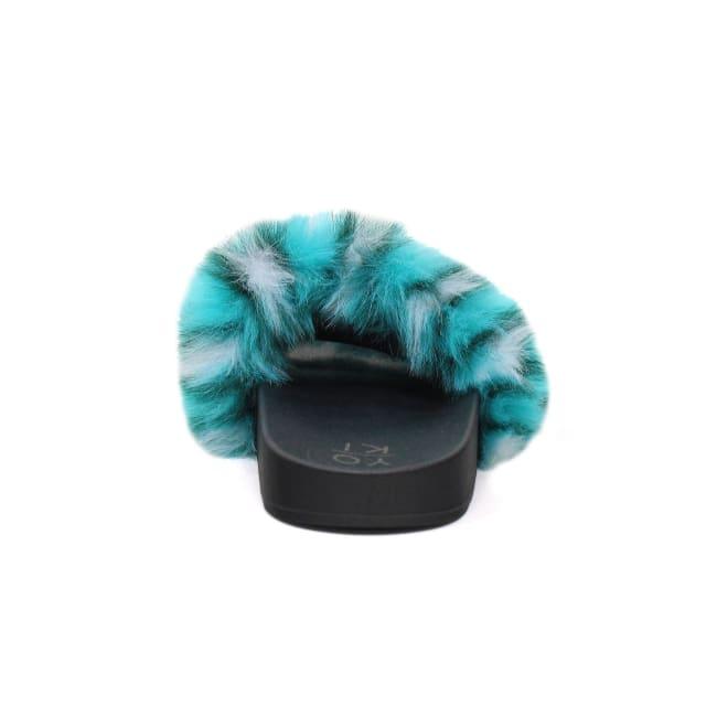 Flat Slide With Multi Color Animal Printed Fur