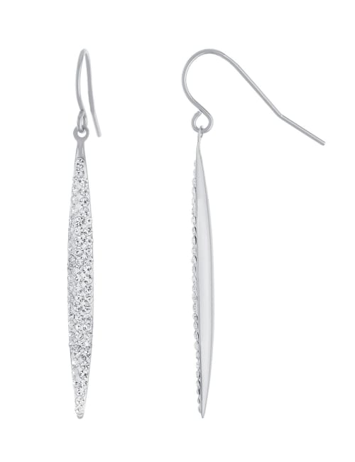 Sterling Silver Crystal Marquise Wire Earrings