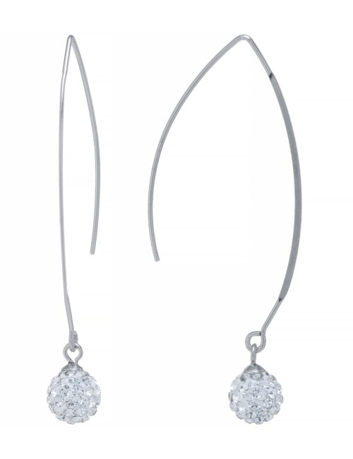 Sterling Silver Clear Crystal Wire Hooks