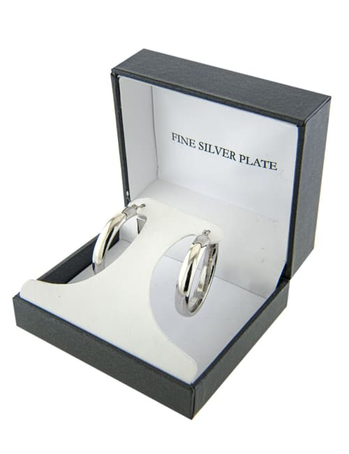 Boxed fine silver plated 30mm clicktop hoops