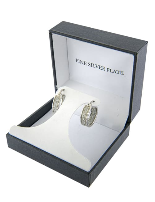 Boxed fine silver plated 20mm glitter inside and out hoops