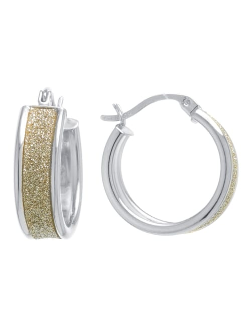 Boxed gold over fine silver plated 20mm glitter inside and out hoops