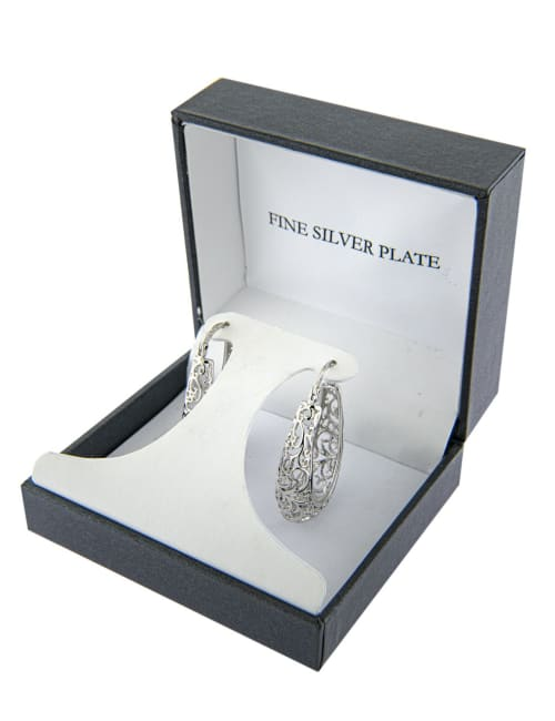 Boxed fine silver plated 30mm oval filigree hoops