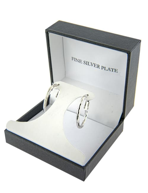 Boxed fine silver plated 20x27mm diamond cut oval hoops