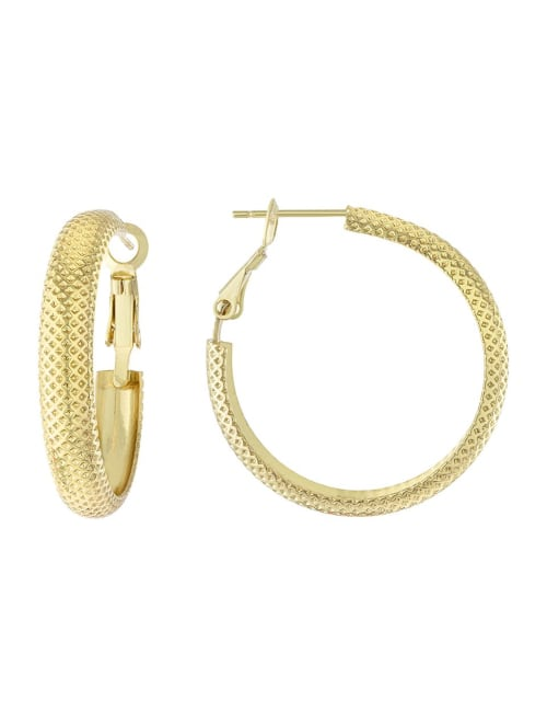 Boxed Gold Over Fine Silver Plated 32mm Diamond Cut Dome Hoops