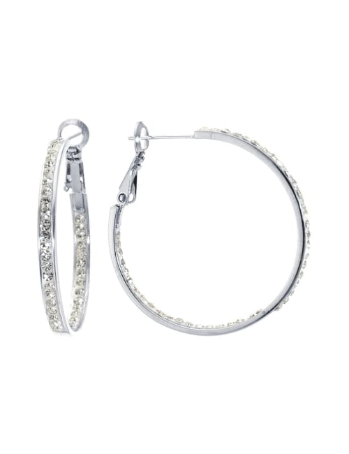 Boxed Fine Silver Plated 35mm Crystal Clutchless Hoops