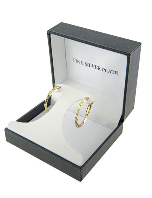 Boxed Gold Over Fine Silver Plated 26mm Diamond Cut Hoops