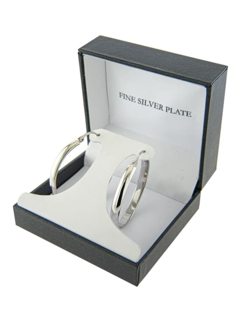 Boxed Fine Silver Plated 40mm Clicktop Hoops