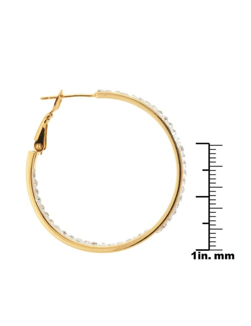 Boxed Gold Over Fine Silver Plated 35mm Crystal Clutchless Hoops