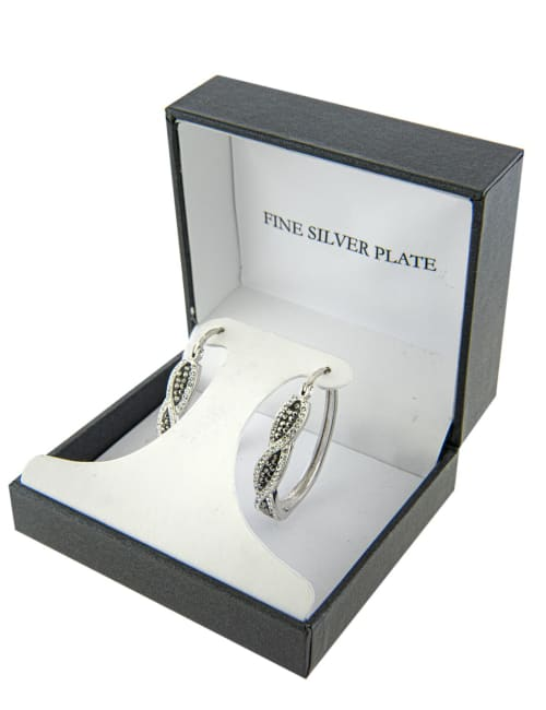 Boxed Fine Silver Plated 25mm Grey Crystal Front Twist Hoops