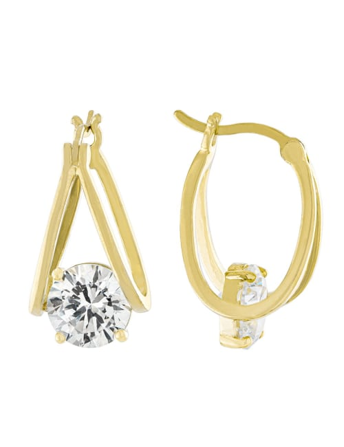 Boxed Gold Over Fine Silver Plated 21mm Cubic Zirconia Split Clicktop Hoops