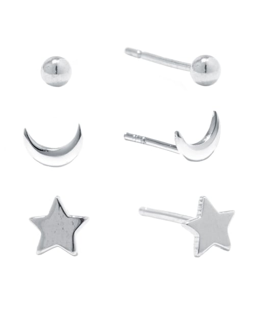 Sterling Silver Ball, Moon and Star Stud Trio Earring Set