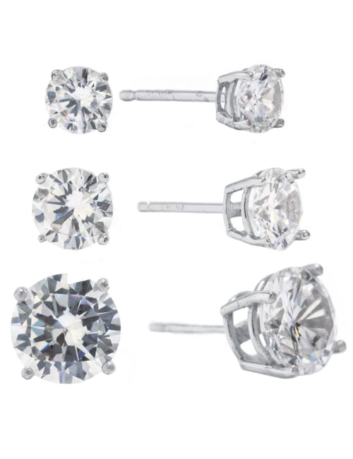 Sterling Silver 5, 6 and 8MM Cubic Zirconia Stud Earrings