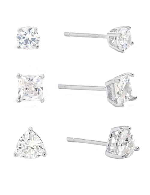 Sterling Silver Round, Square and Triangle Cubic Zirconia Trio Stud Earrings