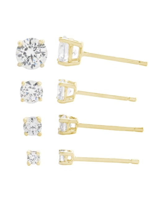 Gold Over Sterling Silver 2, 3, 4, and 5mm Round Cubic Zirconia Stud Earring Set