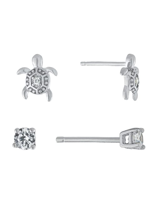 Sterling Silver 3mm Cubic Zirconia and Turtle Stud Earring Set