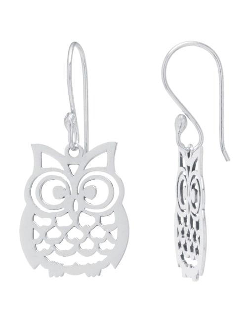 Sterling Silver 30mm Laser Cut Owl Drop Earrings