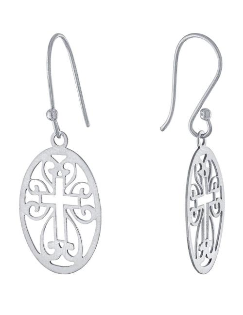 Sterling Silver Laser Cut Oval Cross Drop Earrings