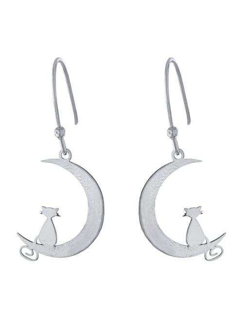 Sterling Silver Laser Cut Moon With Cat Drop Earrings