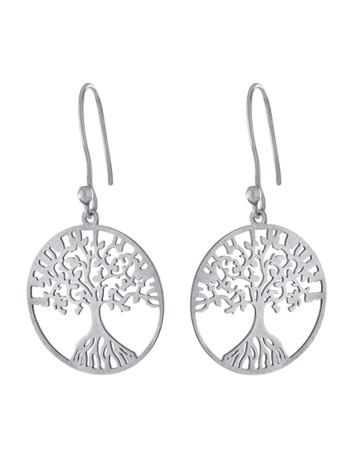 Sterling Silver Laser Cut Circle Tree Drop Earrings With a French Wire