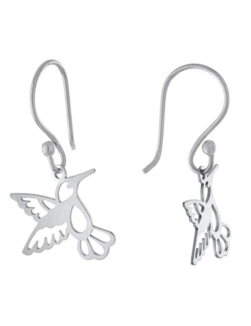Gold Over Sterling Silver Laser Cut Hummingbird Drop Earrings