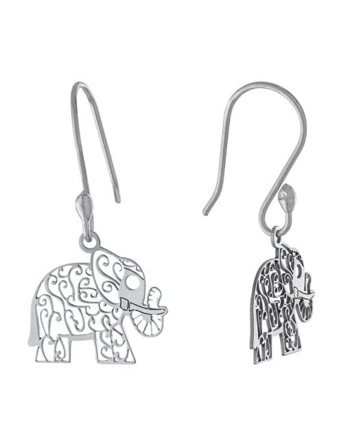 Sterling Silver Laser Cut Elephant Drop Earring