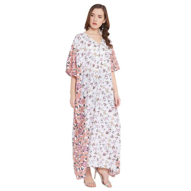 Polyester Kaftan Long Maxi Dress - Plus