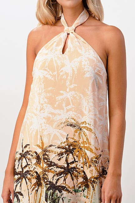 Kaii Palm Tree Printed Halter 100% Silk Maxi Dress