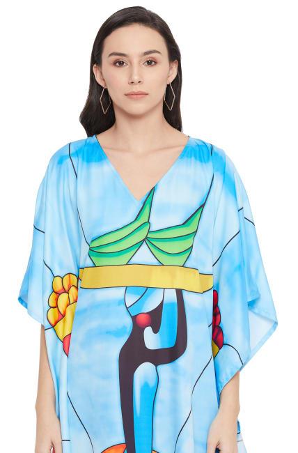 Sky Blue Maxi Kaftan Dress - Plus