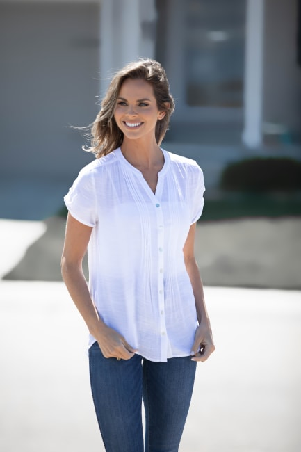White Textured Button Front Shirt - Misses