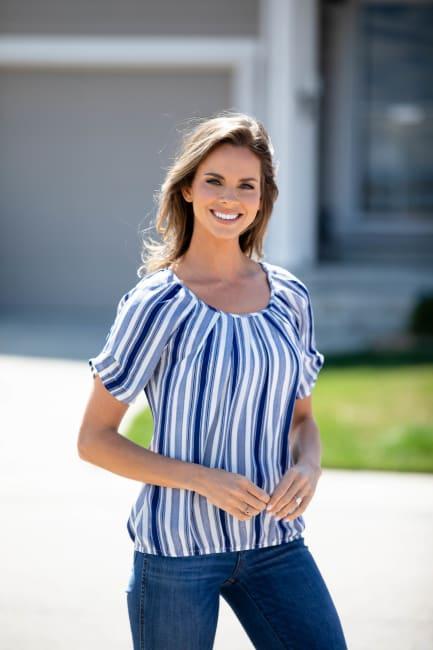 Denim Friendly Stripe Bubble Hem Blouse - Misses