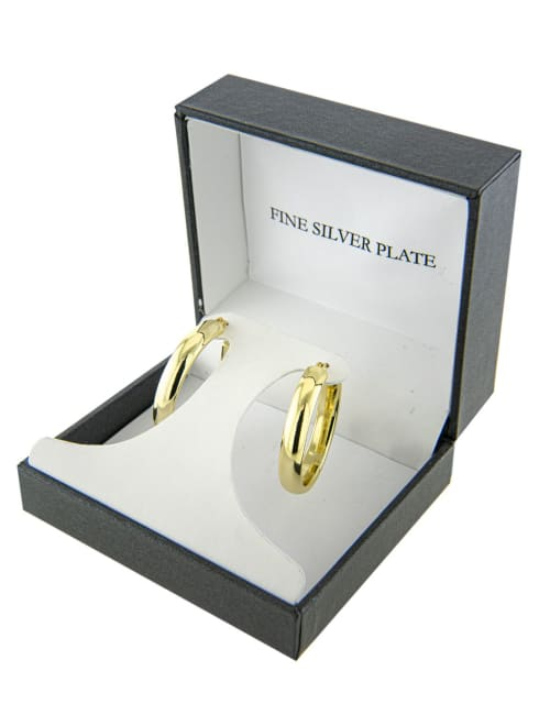 Boxed gold over fine silver plated 30mm clicktop hoops