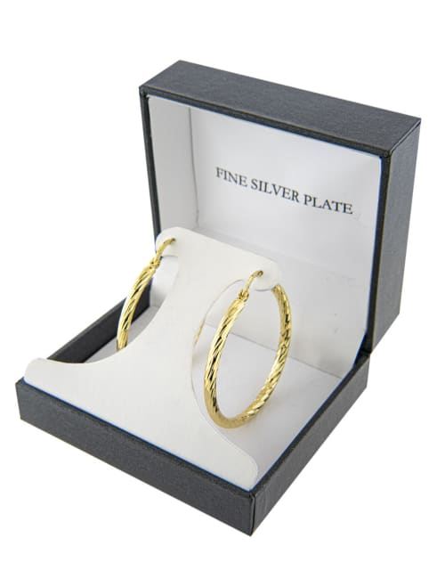 Boxed gold over fine silver plated 40mm diamond cut hoops