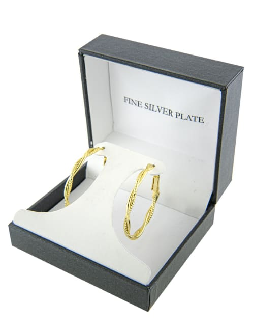 Boxed gold over fine silver plated 35mm twisted clutchless hoops