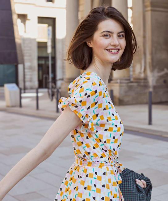 Audrey Geometric Print  Ruffle Hem Dress