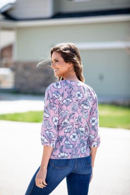 Floral Tie Front Bubble Hem Blouse - Misses