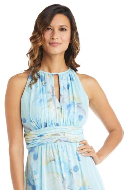 High-Low Floral Print Chiffon Dress