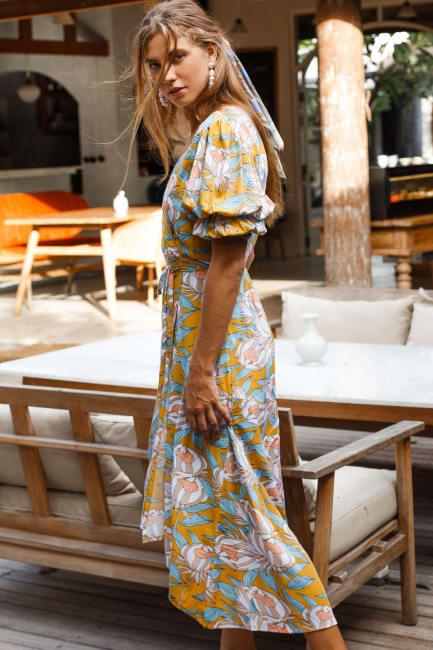 Set Sail Puff Sleeve Wrap Midi Dress