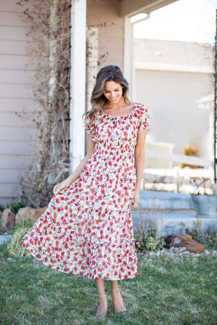 Vienna Poppy Maxi Peasant Dress - Misses
