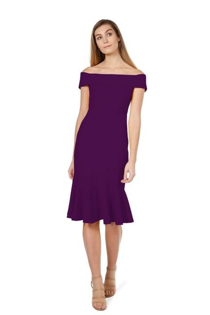 Marina  Plum  Off the Shoulder Dress